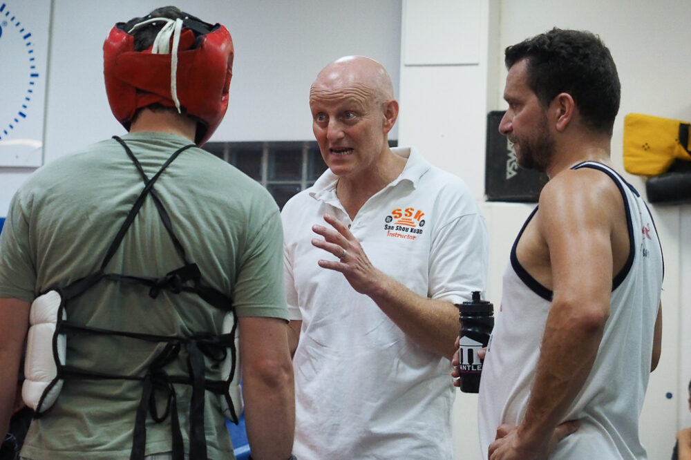 Pete coaching fighters during training session