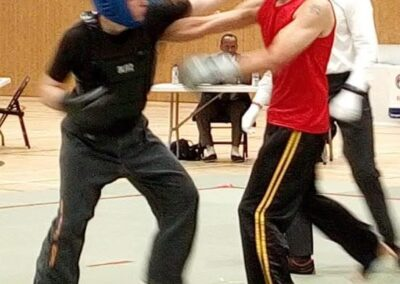 Nic landing a punch in BCCMA Vets British Qingda Final