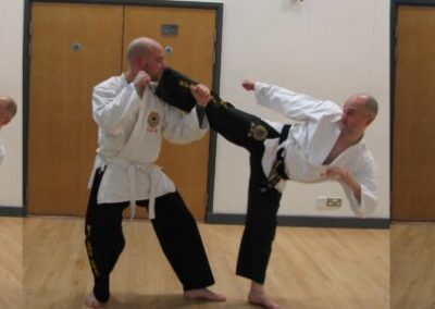 Dave demostrating turning kick side kick reverse hook combo